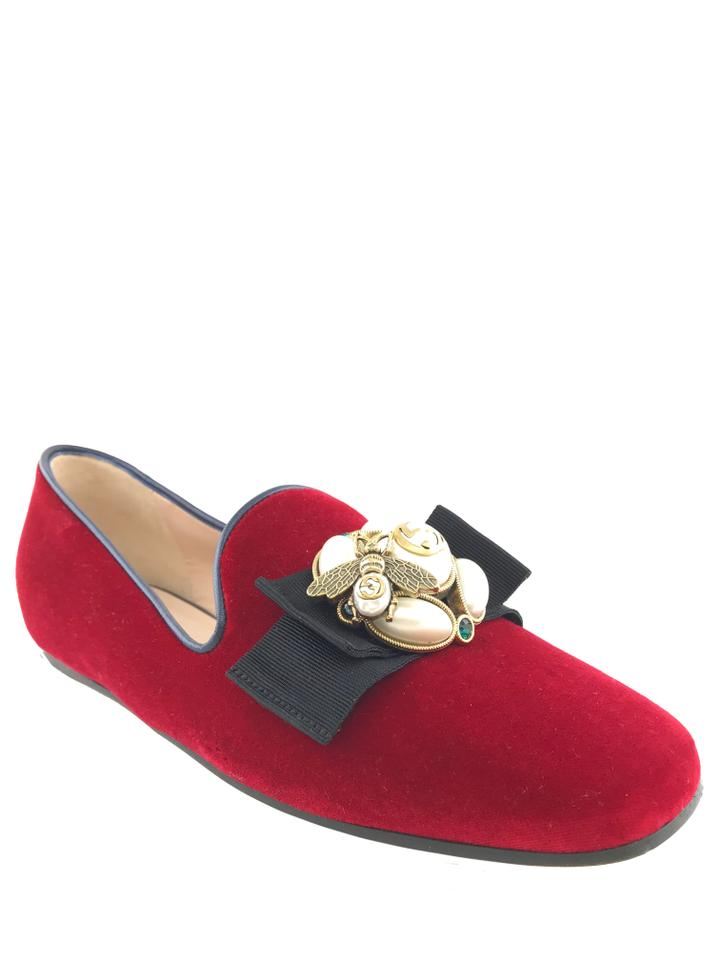 f2689498fe8 Gucci Red Velvet Faux-pearl Ballet with Bee Flats Size EU 37 (Approx ...