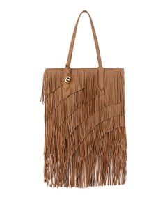 Elizabeth and James Fringe Leather Charm Logo Tote in Camel