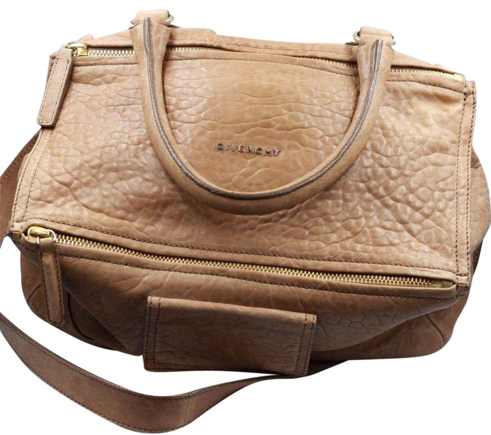 2ee8d5547c1 Givenchy Pandora Medium Satchel Gold Hardware Brown Tan Pebbled Distressed  Leather Shoulder Bag