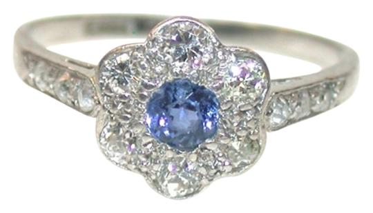Handmade Antique Edwardian Cornflower Blue Sapphire and Diamond Daisy Cluster Ring