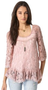 Free People Lace Longsleeve Top Pink