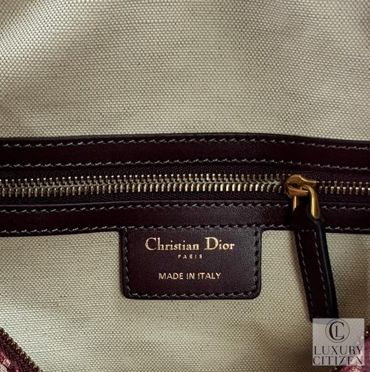 Dior Oblique Diorissimo Monogram Shoulder Tote in Burgundy