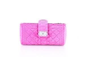 Chanel * Chanel Boy Python Wallet On Chain Pink