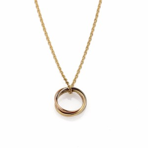 Cartier France Trinity 18k Tri-Color Gold Mini Rolling Ring Pendant Necklace