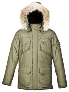 Pajar Olive Mens Canada Nylon Coyote Fur Hoodie James Goose Down Jacket L Tuxedo