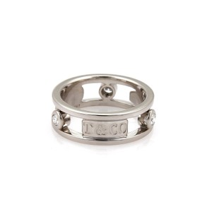 Tiffany & Co. 1837 Collection Diamond 18k White Gold Open Band Ring Size 5