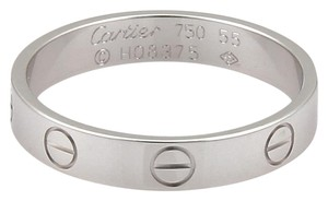 Cartier Mini Love 18k White Gold 3.5mm Wide Band Ring Size EU 55 -US 7