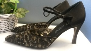 St. John Sequins Lace High Heels Classic Black Formal