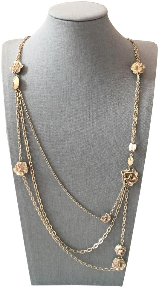 cd53d09a55 Dior Gold Rosette Long Multi Chain Rose Necklace