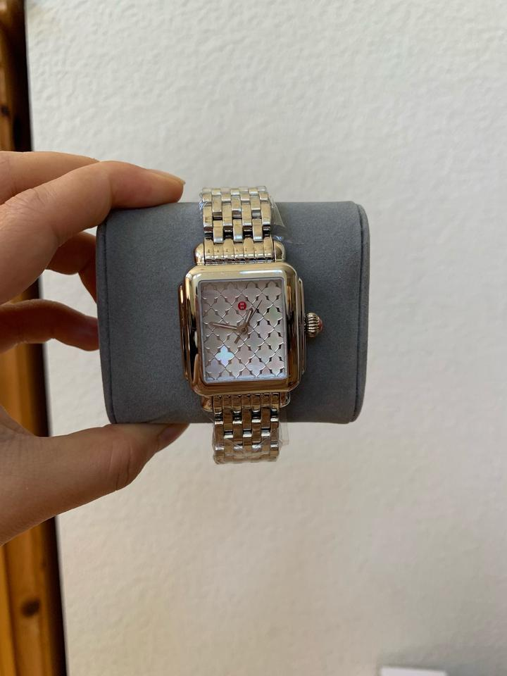 d78a82d65a4e0c Michele NWT Deco White Mother of Pearl Mosaic Dial Watch MWW06T000175 Image  11. 123456789101112