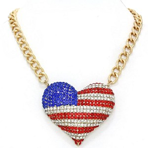 Simple Black Label American Flag Rhinestone Crystal Accent Heart Necklace
