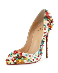 Christian Louboutin Red Soles Follies Spikes Floral Pumps