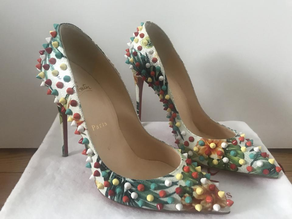 1f30bf8eeaf Christian Louboutin Floral Follies Spiked 120mm Red Sole White/Multi Pumps  Size EU 38 (Approx. US 8) Narrow (Aa, N) 36% off retail