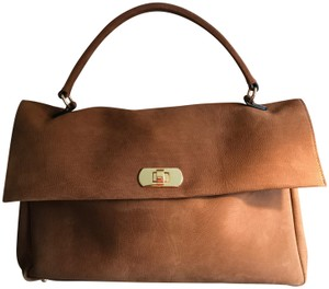 Marni Calfskin Soft Front Flap Leather Gold Hardware Satchel in Camel