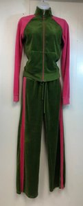 Juliet & Co Juicy Couture Green/Pink Velour Weekend Pant Set M