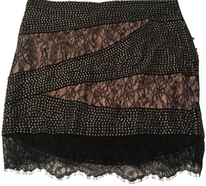 Haute Hippie Mini Skirt Black Lace with off white silk lining