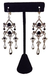 Unknown Silver and Black Rhinestone Dangle Earrings