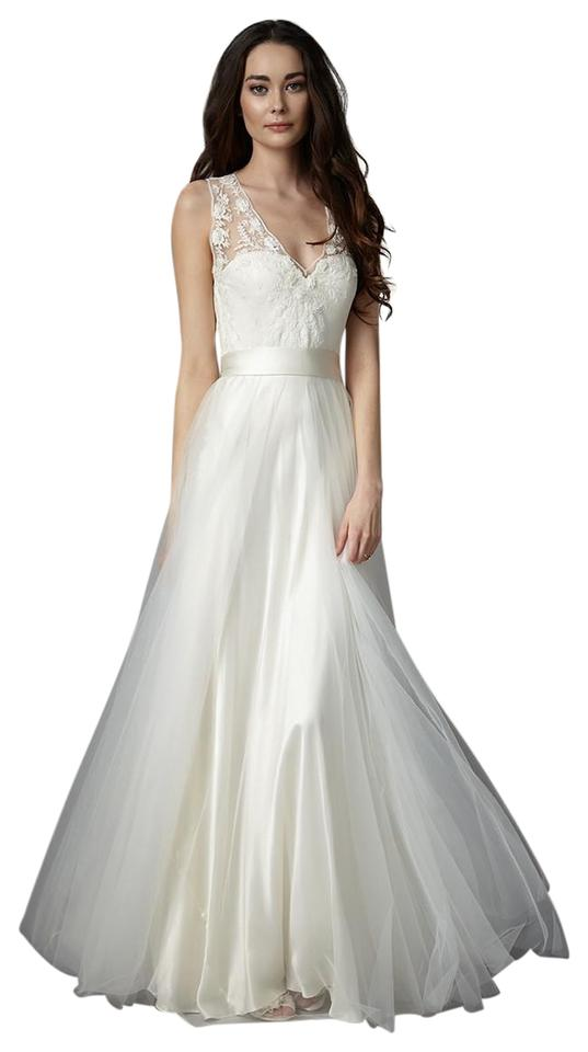 Catherine Deane for BHLDN Pale Ivory Satin Silk Tulle Lace Onyx ...