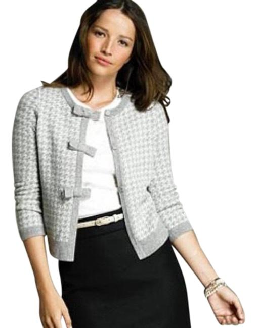 J.Crew Gray Houndstooth Cashmere Blend Cardigan Size 4 (S) J.Crew Gray Houndstooth Cashmere Blend Cardigan Size 4 (S) Image 1