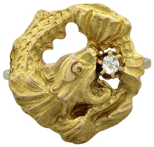 Yellow 1890s 14k solid gold 05ct old mine diamond dragon for Solid gold fish