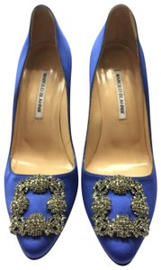 Manolo Blahnik Hangisi Jewel Blue Satin Pumps