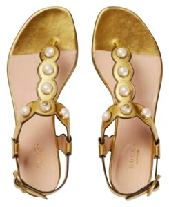 Gucci Willow Pearl Gold Sandals