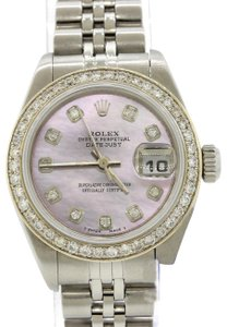 Rolex Ladies DateJust Steel 79174 26mm Pink MOP Diamond Bezel Watch