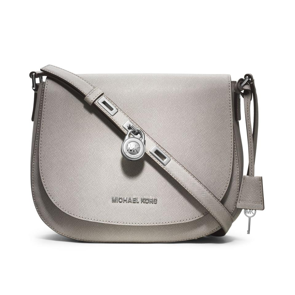 presenting first rate the latest Michael Kors Messenger Hamilton Large Pearl New Grey Leather Cross Body Bag  32% off retail