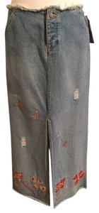 Tommy Hilfiger Applique Denim Bohemian Maxi Skirt Blue