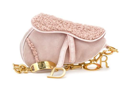 Dior Saddle Christian Classic Suede Wristlet in Pink Image 0