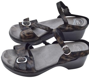 Dansko Black and Bronze Sandals