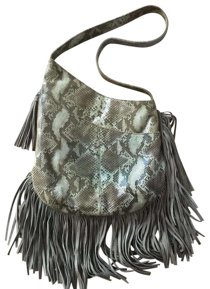 W Fringe Hand Crafted One Of A Kind Brown   Grey Snakeskin Leather Hobo Bag 87ac733a542cb