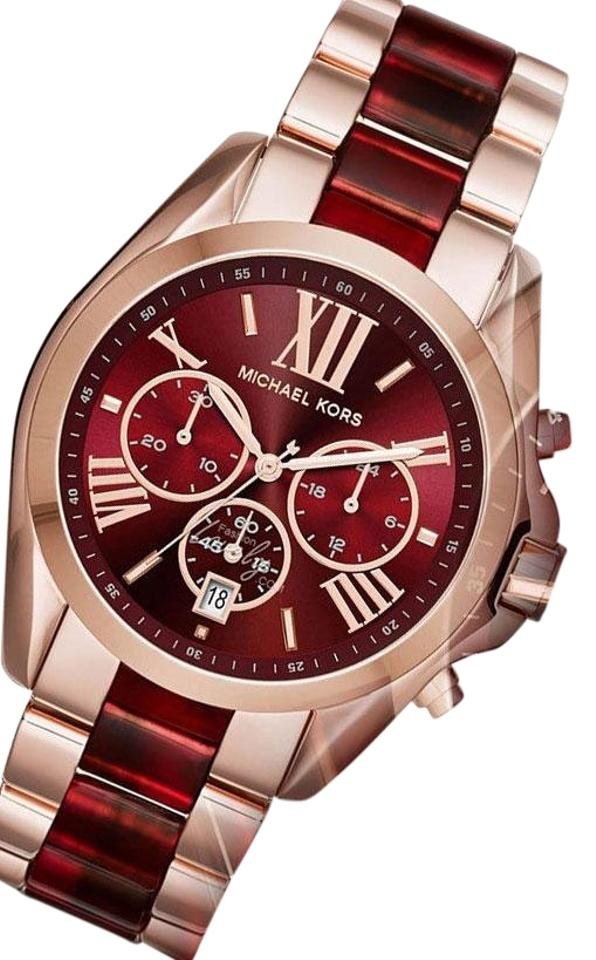 8628e373ba5 Michael Kors Rose Gold and Red New In Box Mk6270 Bradshaw Two Tone Women s  Watch