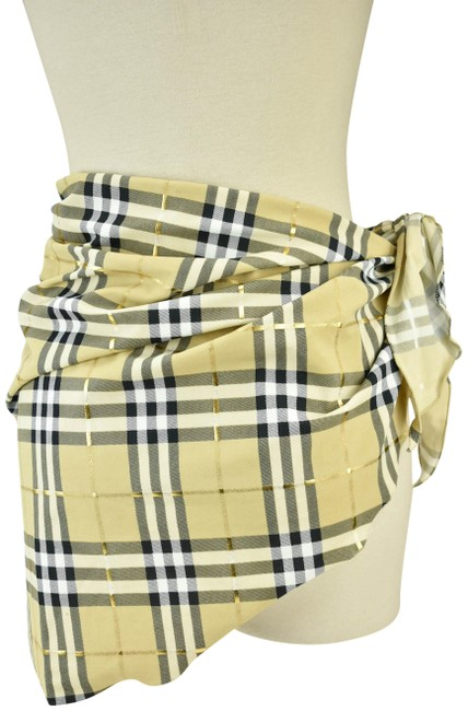Item - Beige Metallic Gold Nova Check Cover Up/Wrap Cover-up/Sarong Size OS (one size)