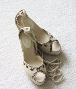 Colin Stuart New Wedge Natural - cream with brown stitchings Wedges