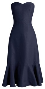 J.Crew Navy Cotton Silk Strapless Ruffle Bridesmaid/Mob Dress Size 8 (M)