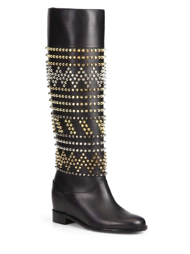 e5884a57f21 Christian Louboutin Black Rom Chic Spike Leather Knee Tall Boots Booties