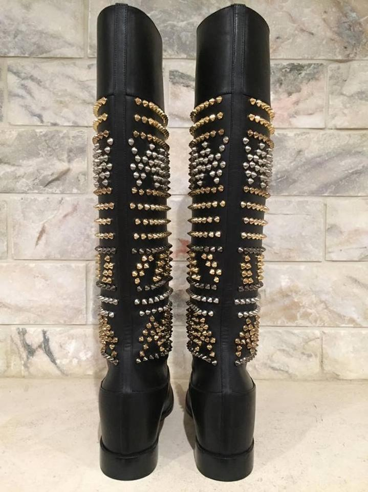 a6d993fc3b3 Christian Louboutin Rom Chic Spike Riding black Boots Image 11.  123456789101112