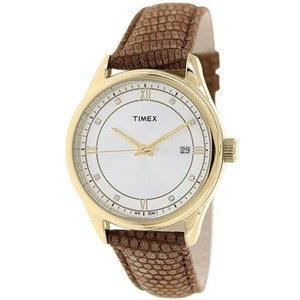 Timex T2P557 Classic Women's Brown Leather Band With Silver Dial Watch