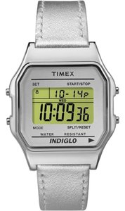 Timex TW2P76800 Classic Unisex Silver Leather Band With Green Digital Dial