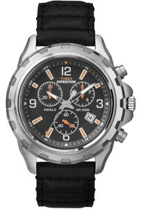 Timex T49985 Expedition Men's Black Leather Band With Black Dial Watch