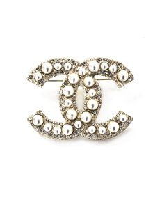Chanel Chanel Pearl & Crystal CC Brooch with Box and Pouch