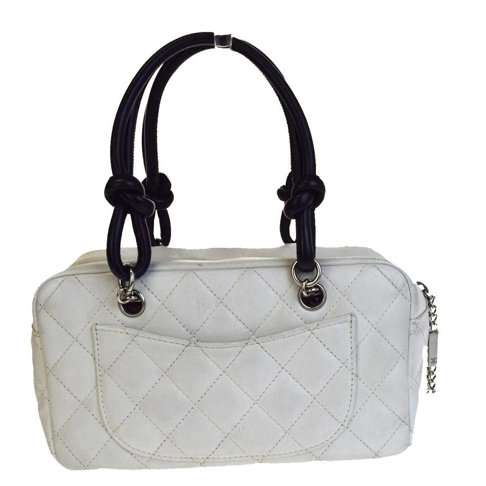 Chanel Cambon Cc Logos Mini Hand White In Italy Black Leather Messenger Bag babbb76e502c8