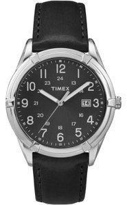 Timex TW2P76700 Main Street Men's Black Leather Band With Black Dial