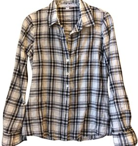James Perse Button Down Shirt white and black