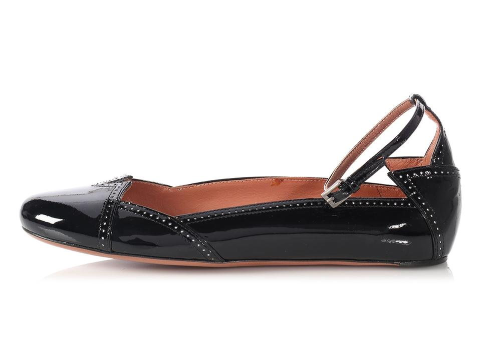 f736f35380d ALAÏA Black Patent Leather Brogue Ankle Strap Ballet Flats Size EU ...