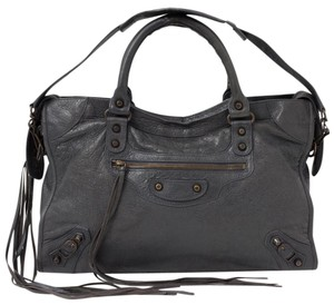 Balenciaga Leather Classic Studs City Satchel in Gray