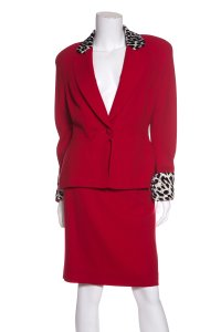Dior Christian Dior Red Vintage Wool Skirt Suit
