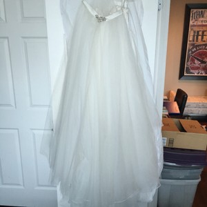 Mori Lee White/Silver Voyage Strapless Lace Cocktail with Tulle Overskirt Destination Wedding Dress Size 8 (M)