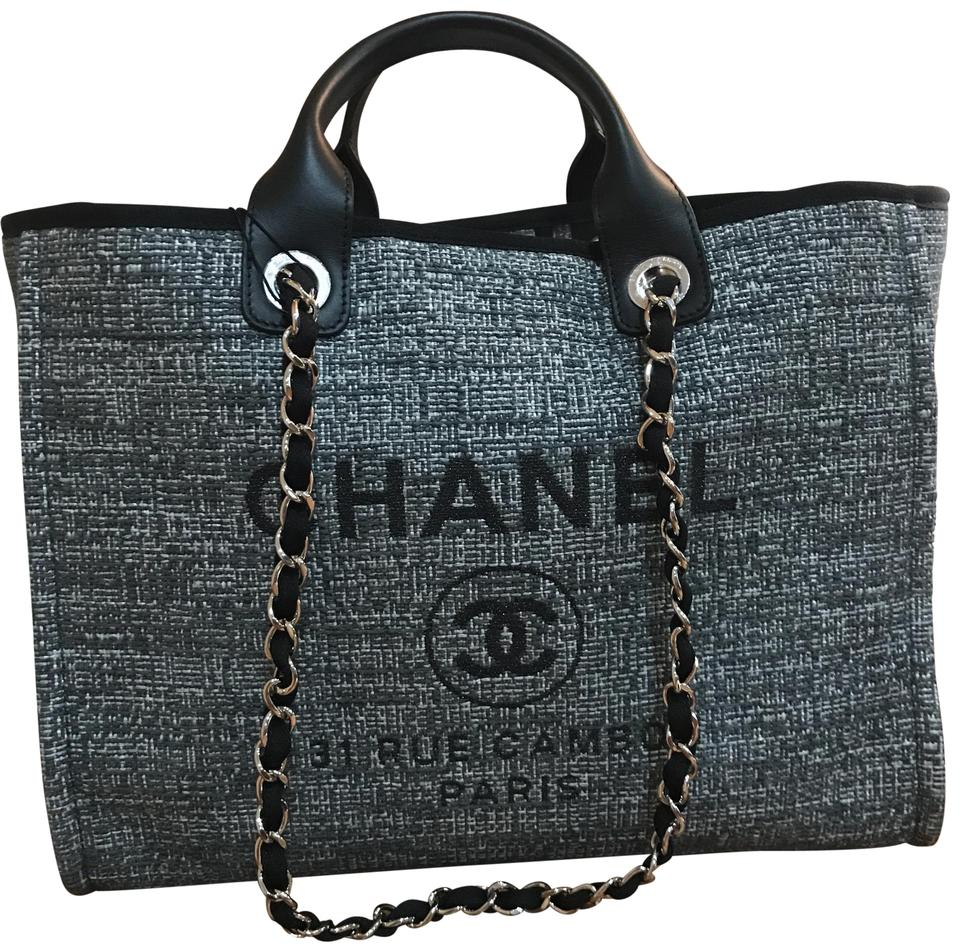 fe09d3b067e Chanel Deauville Cambon New 2018 Large Rue 30cm Charcoal Jacquard ...